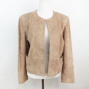 Orvis Vintage Suede Leather Open Front Jacket
